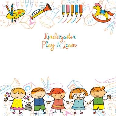Kindergarten, Kids and Playground Frame