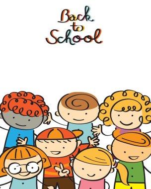 Kindergarten, Kids Back to School Background and Frame