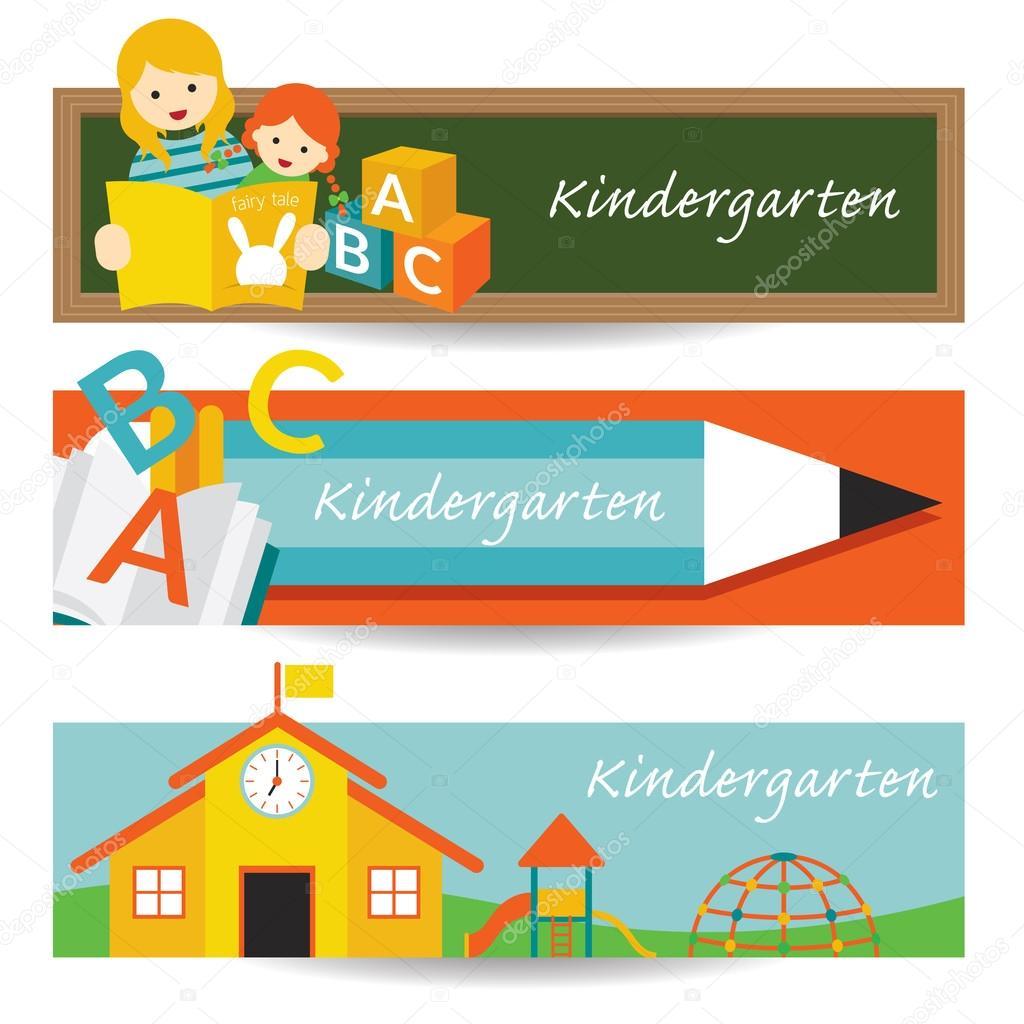 Jardín de infantes, preescolar, bandera — Vector de stock ...
