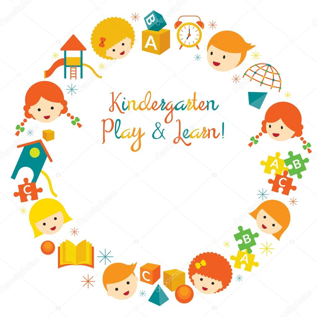 Jardín de infantes, preescolar, niños guirnalda — Archivo Imágenes ...