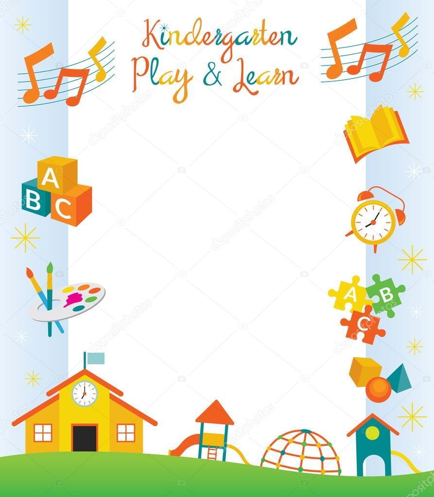 幼稚園、保育園、オブジェクトの枠線とフレーム — ストックベクター