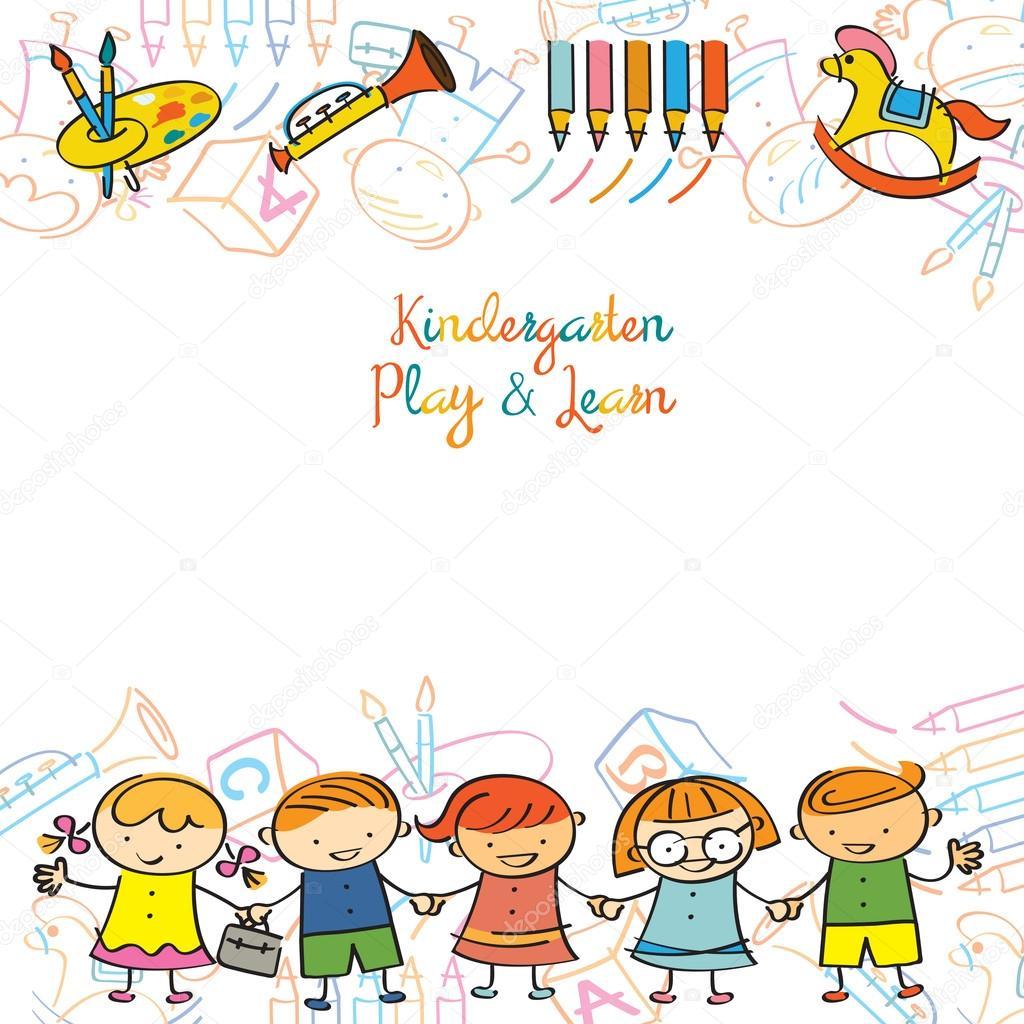 Jardín de infantes, los niños y parque infantil marco — Vector de ...