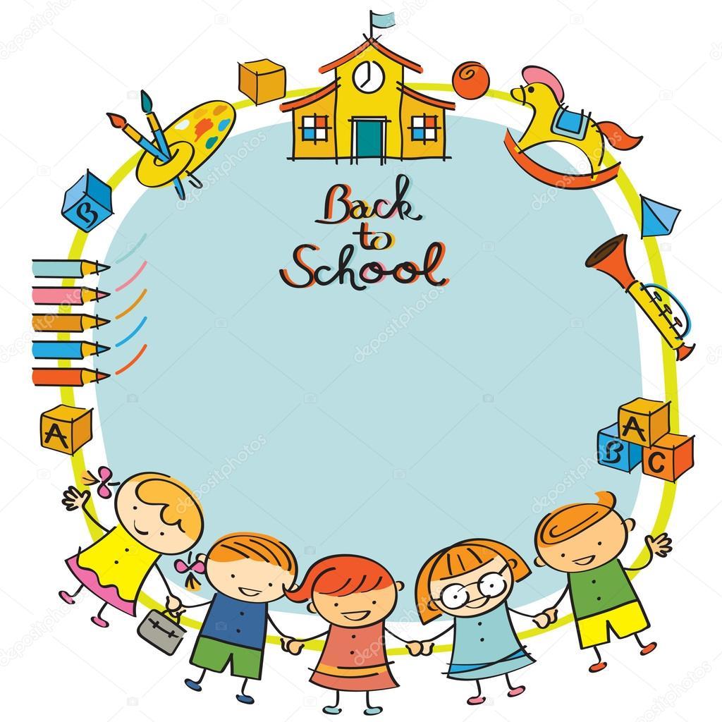 Jardín de infantes, niños volver al marco de la escuela — Archivo ...