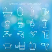 Photo Bathroom Line Icons Set with Blur Background