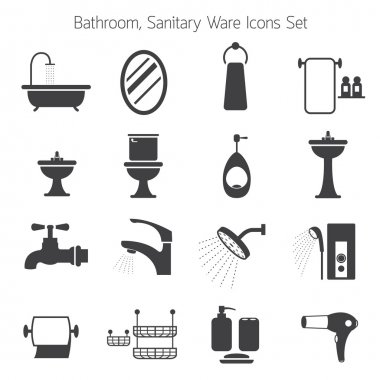 Bathroom Mono Icons Set