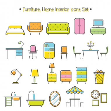 Furniture Line Icons Colorful Set