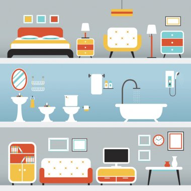 Furniture in Bedroom, Bathroom, Living Room
