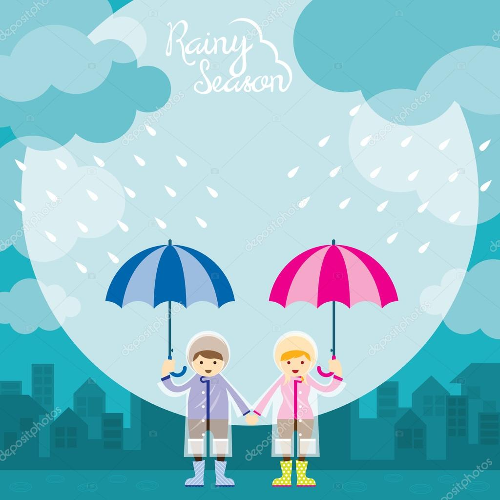 Boy and Girl with Umbrella Rainy Season