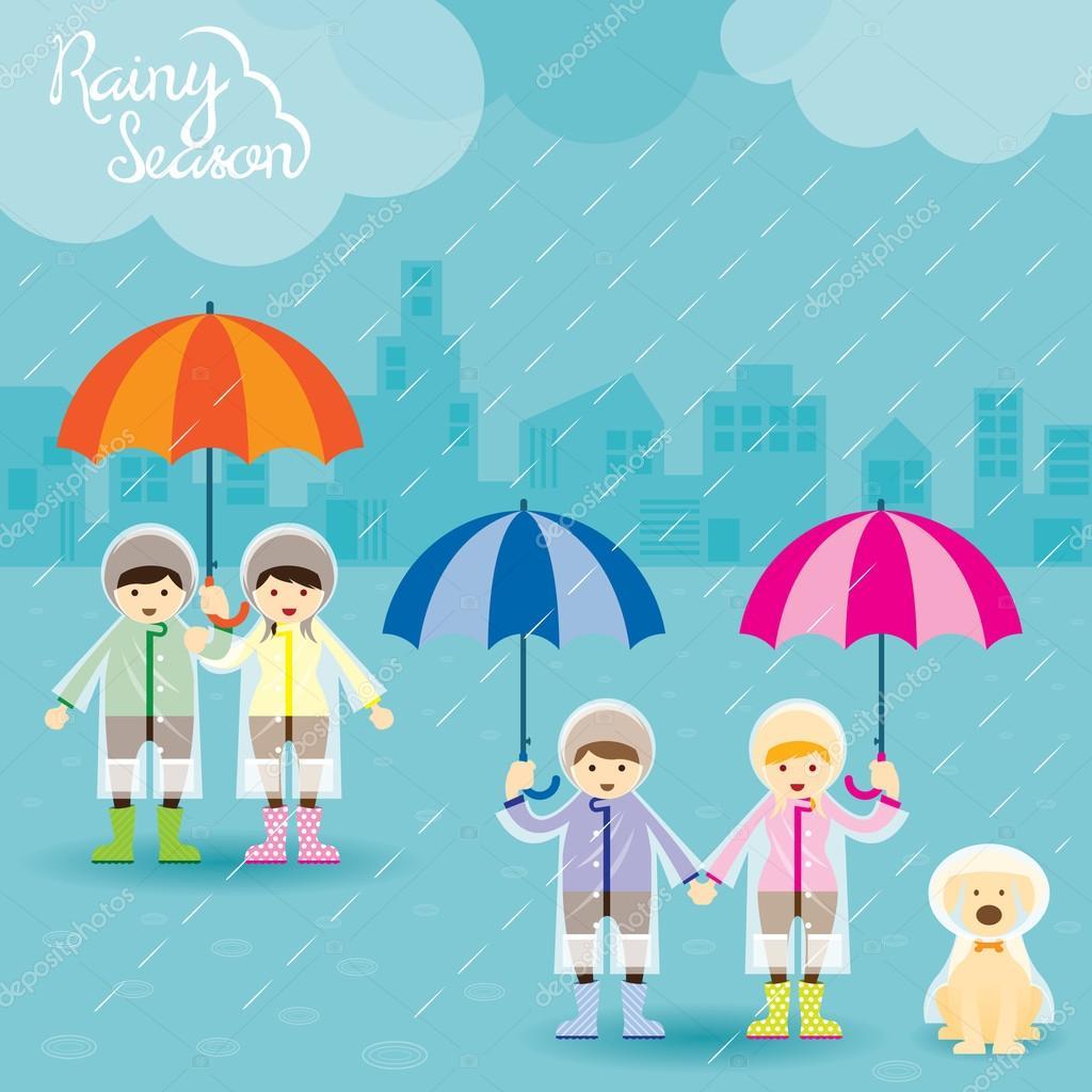 Boy Girl and Dog with Umbrella Rainy Season
