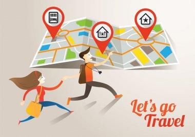 Couple run into Map, Travel
