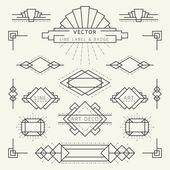 Art Deco styl čáry a geometrické popisky a odznaky černobíle