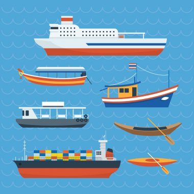 Various kind of Ship, Boat, Ferry