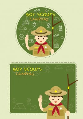 Boy scout with Camping Line Icons Label Background