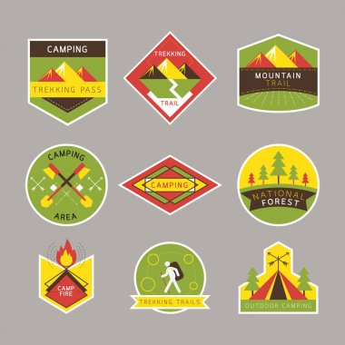 Camping Label and Badge Flat Design Style