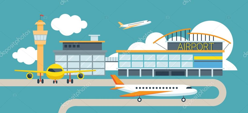 plane and airport flat design illustration icons objects stock rh depositphotos com Old Airplanes Airplane Outline
