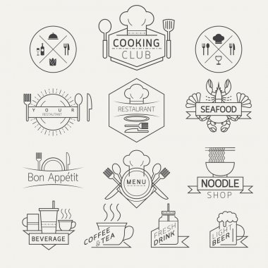 Food, Beverage, Cooking Labels and Badges