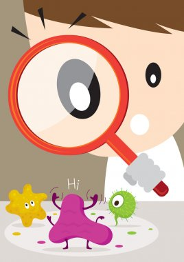 Doctor or Man use Magnifying Glass look through find Germ