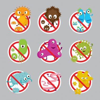 Cute Germ Characters Prohibition Sign