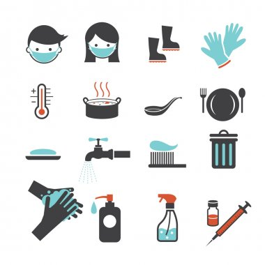 Health and Sanitation Icons Set