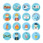 Notfall-flach-Icons Set