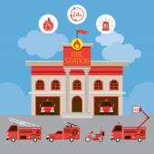 Stazione dei pompieri e veicolo