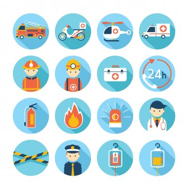 Emergency Flat Icons Set