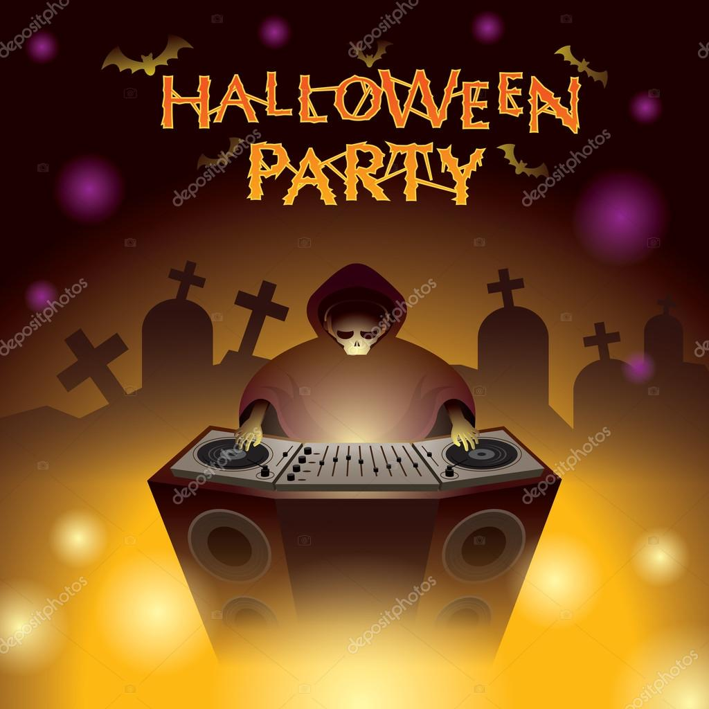 Halloween DJ Party — Stock Vector © muchmania #85198364