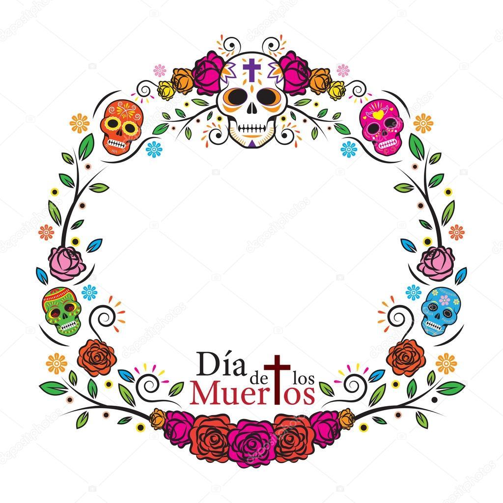 Día del cráneo muerto marco — Vector de stock © muchmania #85199938