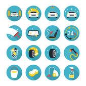 Fotografie Car Wash Objects icons Set