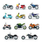 Motocykl typy objektů ikony Set