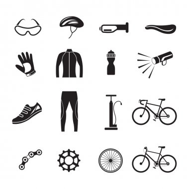 Bicycle Objects and Equipment Icons Set