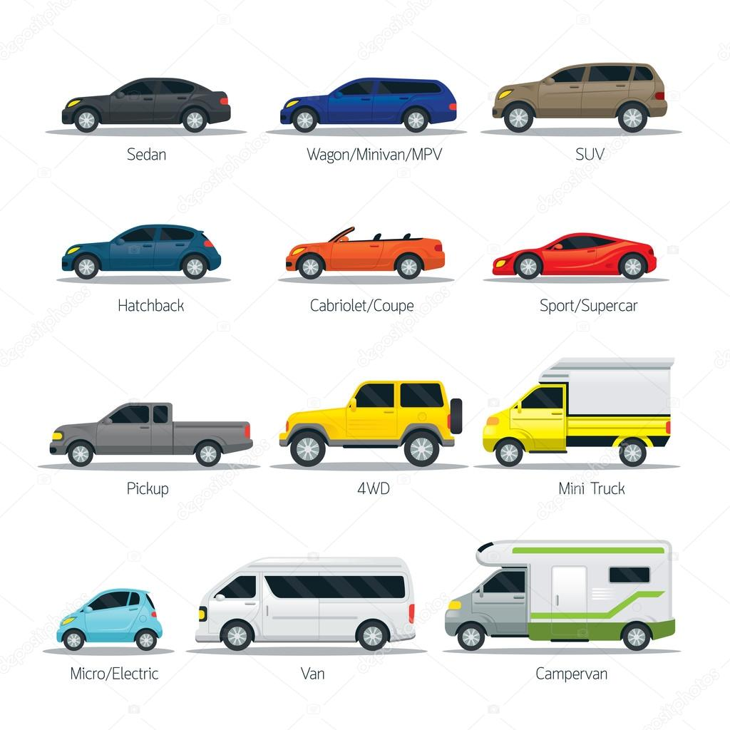 Car Type and Model Objects icons Set — Stock Vector ...