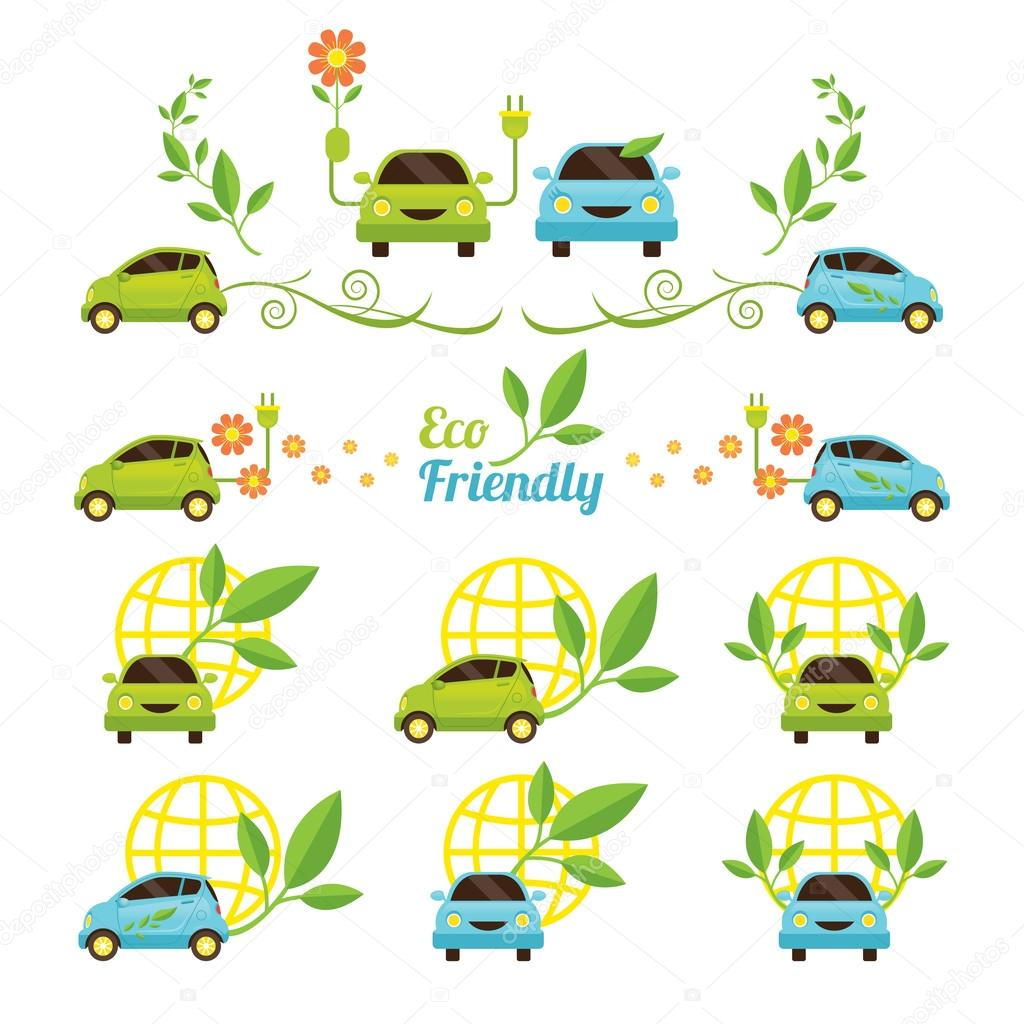 Eco Car Icons Set