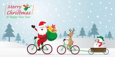 Santa Claus, Reindeer, Snowman Cycling Bicycles