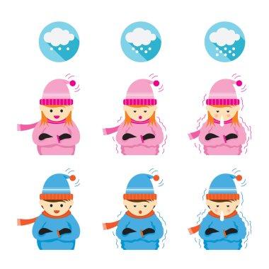 Winter Season, Snowing, icons clip art vector
