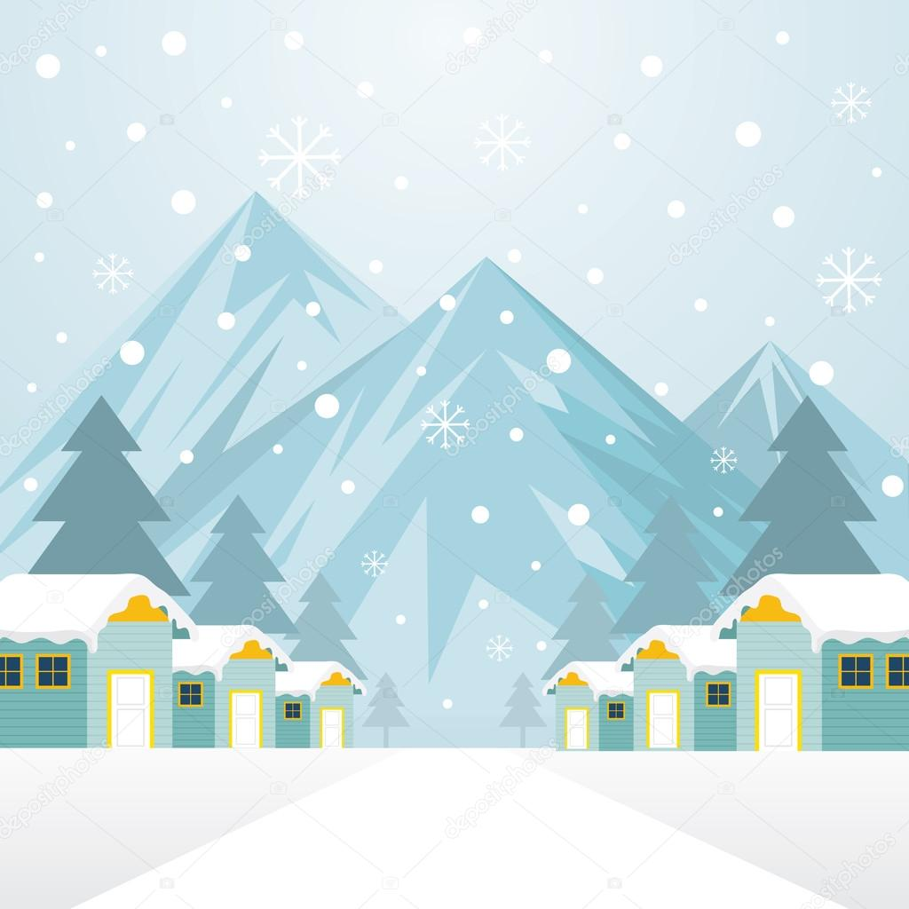 Winter Houses with Snowing Background