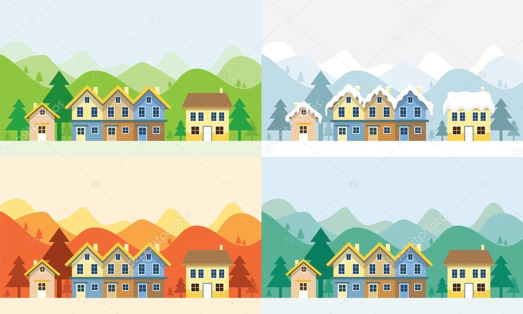 Houses in Four Seasons with Mountain Background