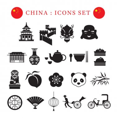 China Mono Icons Set