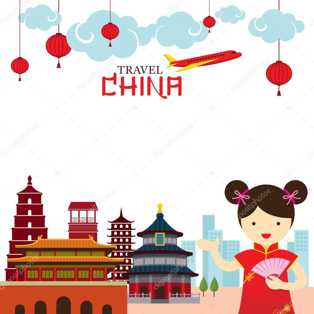 Chinese Girl Travel China Frame — Stock Vector © muchmania #95237422