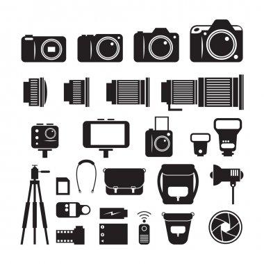 Camera, Photography Mono Icons Set