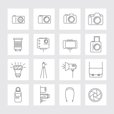 Camera, Photography Linear Icons Set
