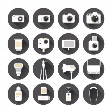 Camera, Photography Flat Icons Set