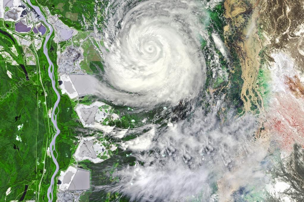 Typhoon near crop field leaving floods and waste land