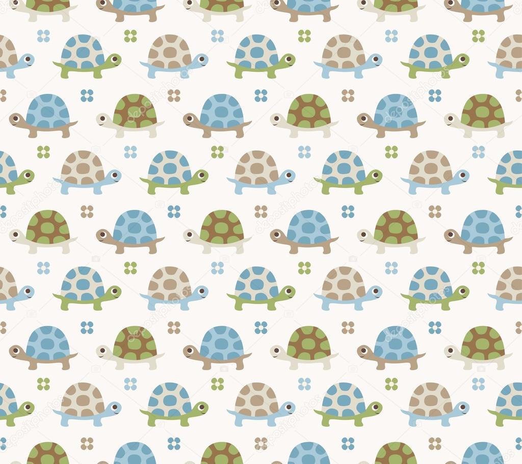 Patrón de dibujos animados de tortuga sin costura — Archivo Imágenes ...