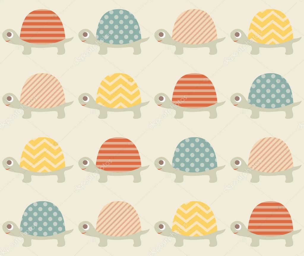 Patrón de dibujos animados de tortugas — Vector de stock ...