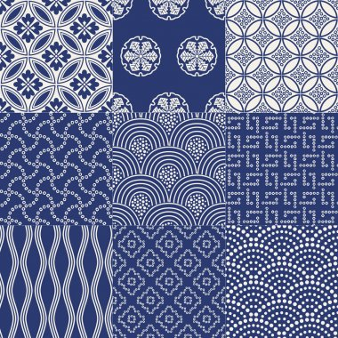 Blue Japanese traditional mesh