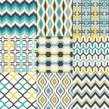 Set of seamless retro geometric pattern