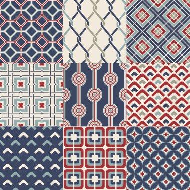 Set of seamless retro geometric pattern