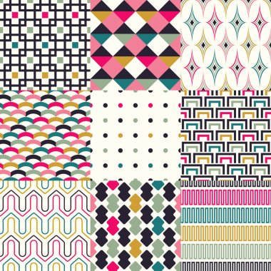 Retro geometric pattern set