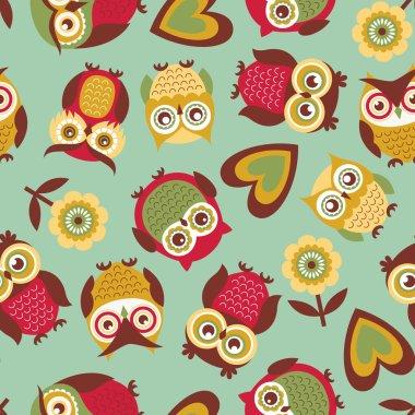 seamless owls birds pattern